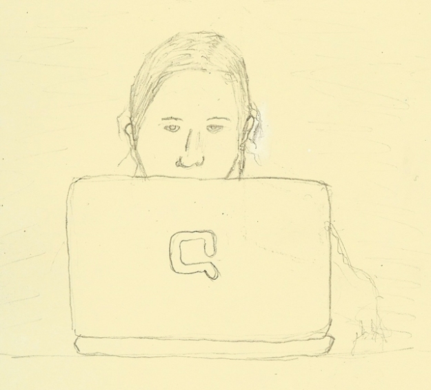 Wife at Computer